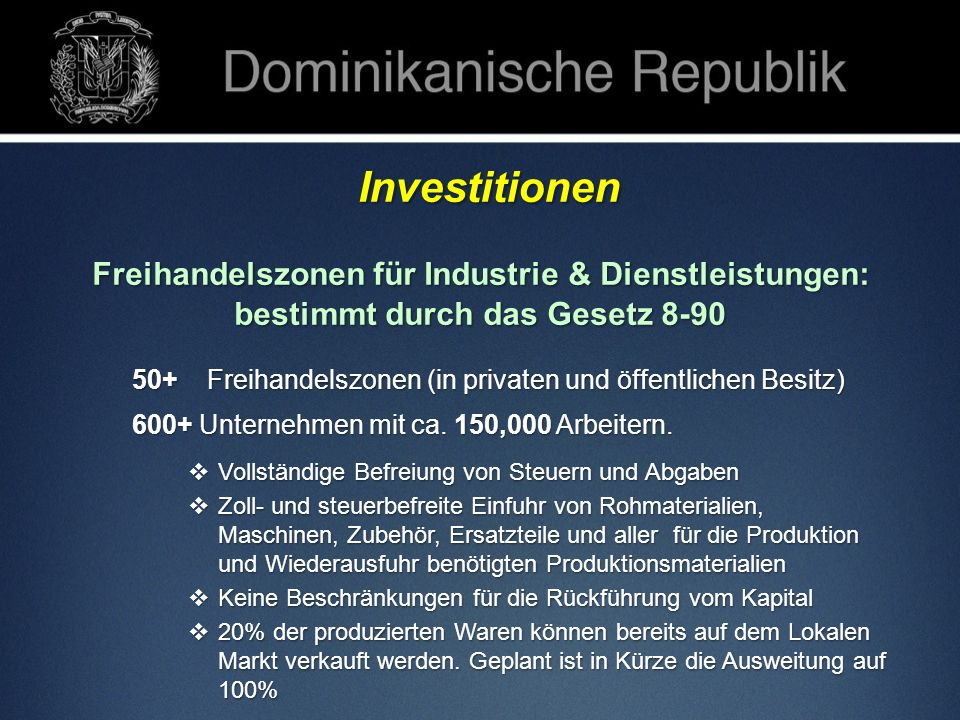 Freihandelszonen für Industrie & Dienstleistungen: