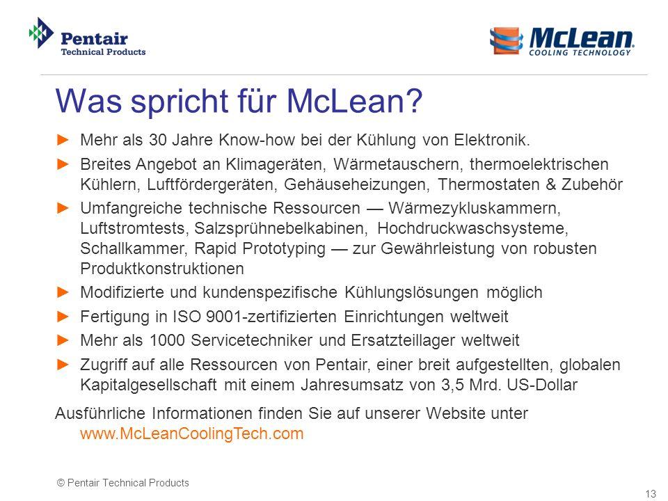 Was spricht für McLean Mehr als 30 Jahre Know-how bei der Kühlung von Elektronik.