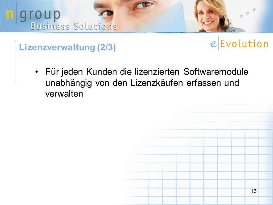Lizenzverwaltung (2/3) Für jeden Kunden die lizenzierten Softwaremodule unabhängig von den Lizenzkäufen erfassen und verwalten.