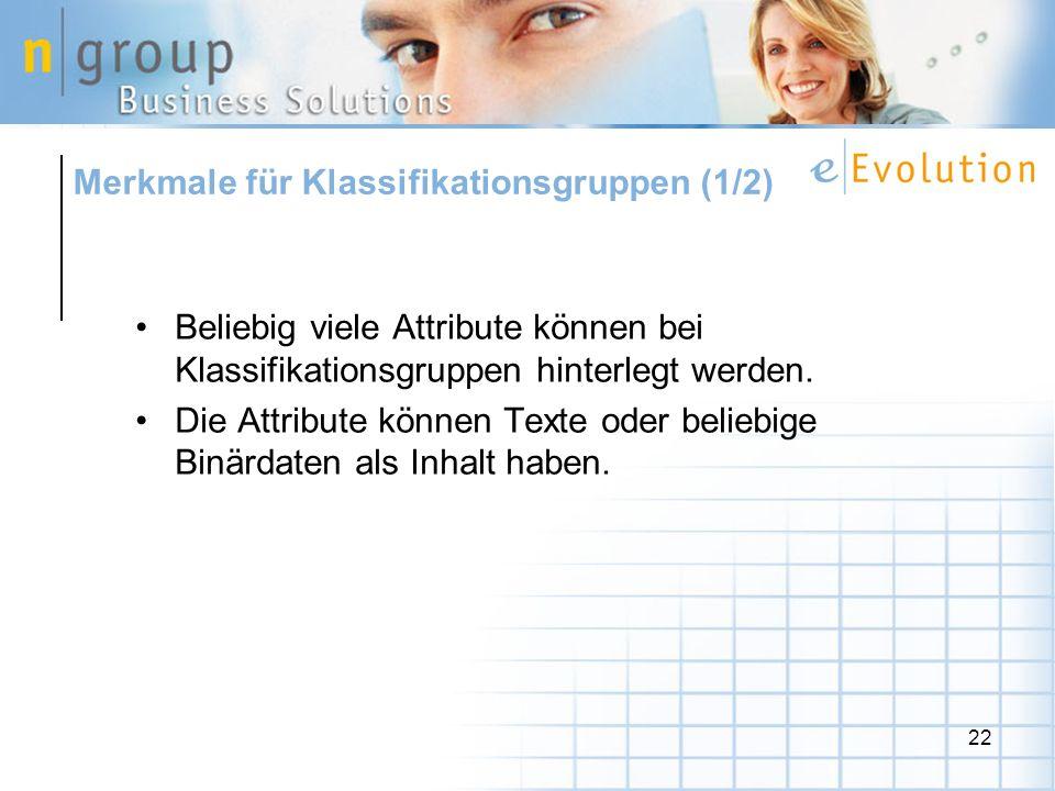 Merkmale für Klassifikationsgruppen (1/2)