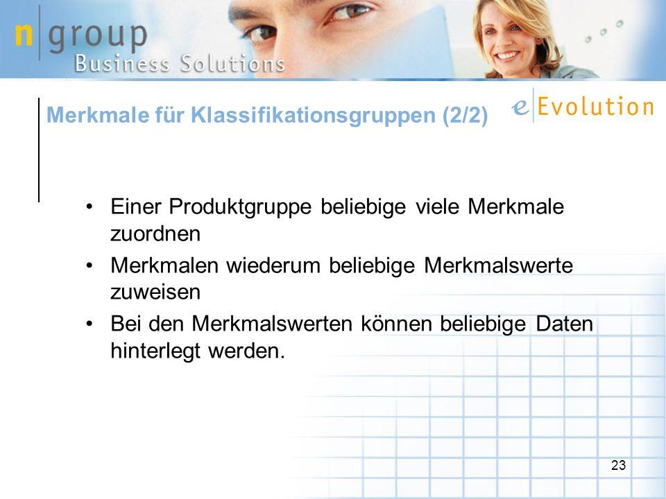 Merkmale für Klassifikationsgruppen (2/2)
