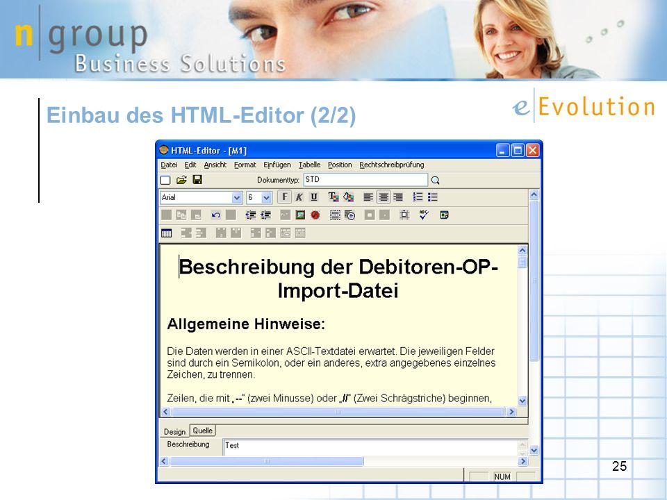 Einbau des HTML-Editor (2/2)