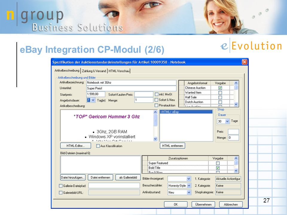 eBay Integration CP-Modul (2/6)