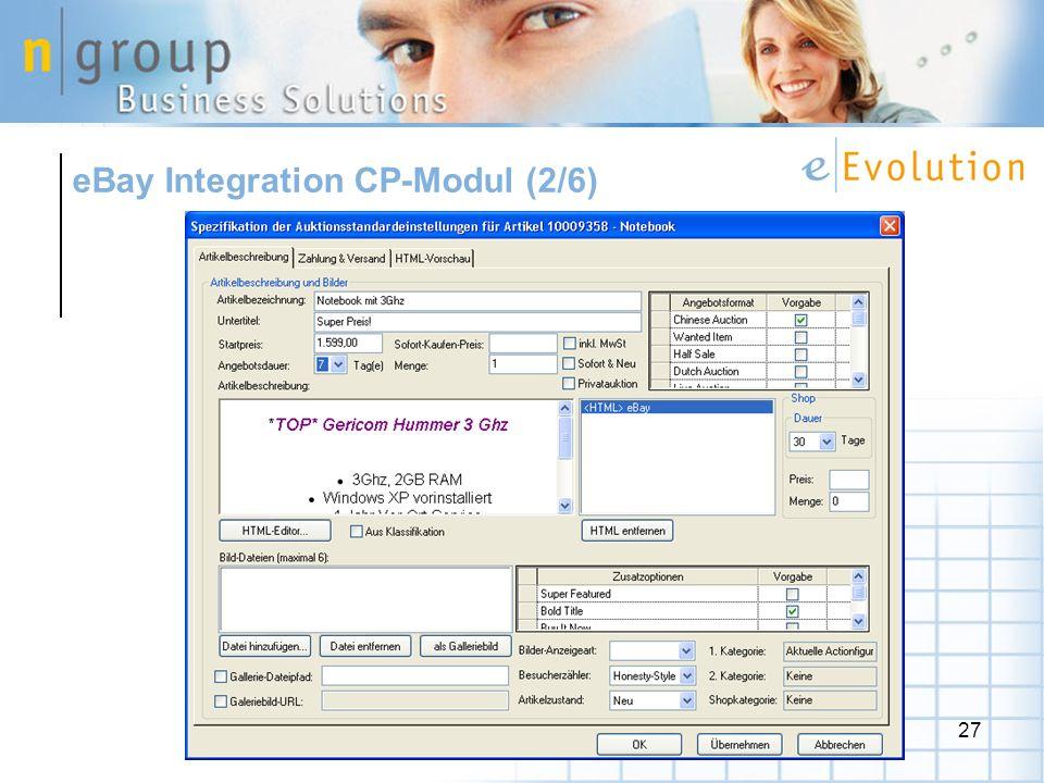 eBay Integration CP-Modul (2/6)