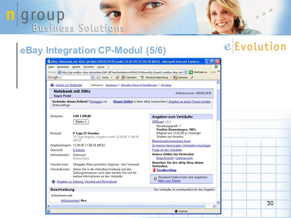 eBay Integration CP-Modul (5/6)