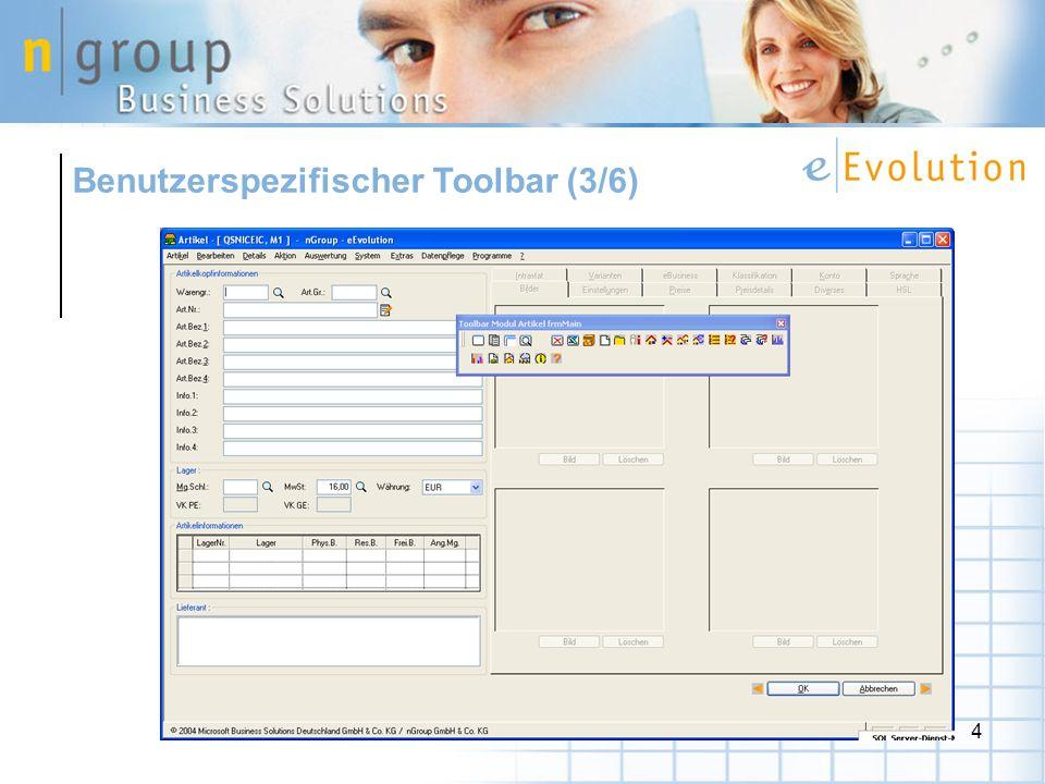 Benutzerspezifischer Toolbar (3/6)