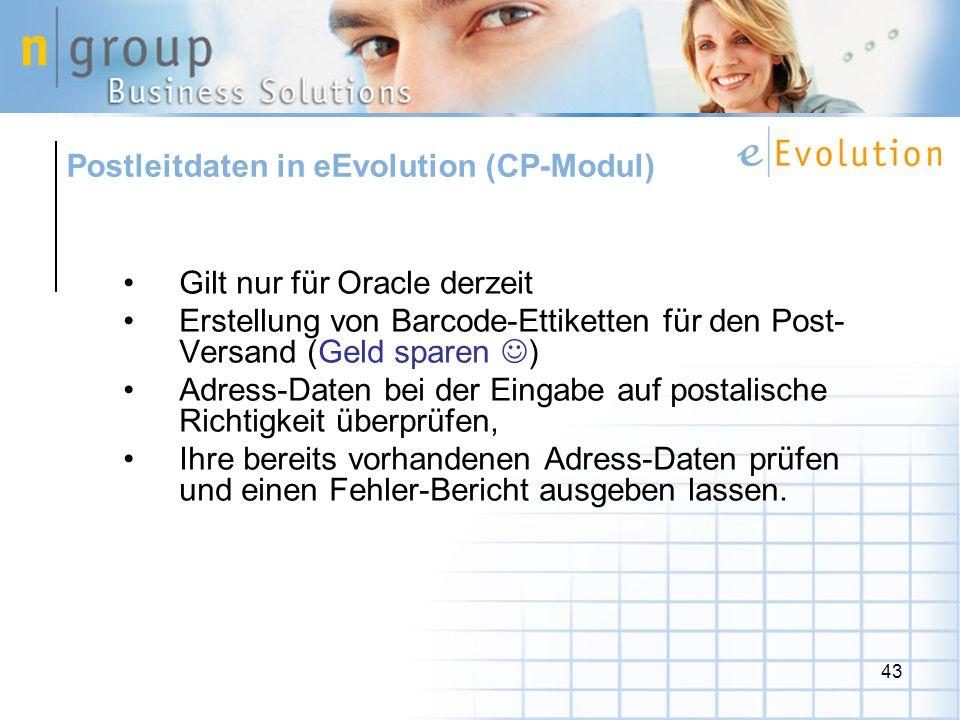Postleitdaten in eEvolution (CP-Modul)