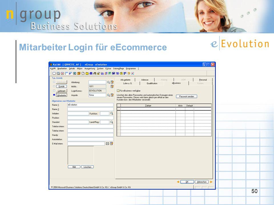 Mitarbeiter Login für eEcommerce