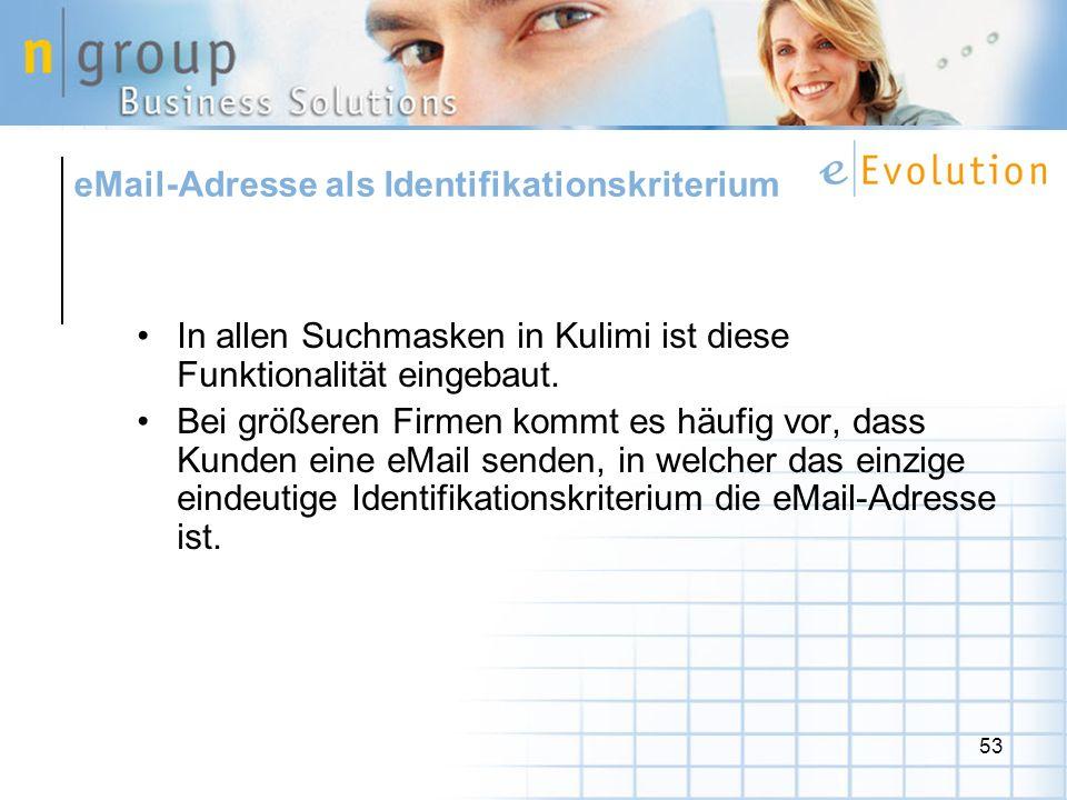 eMail-Adresse als Identifikationskriterium