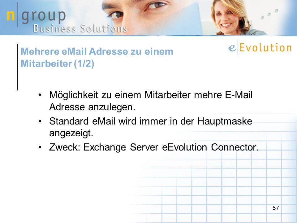 Mehrere eMail Adresse zu einem Mitarbeiter (1/2)