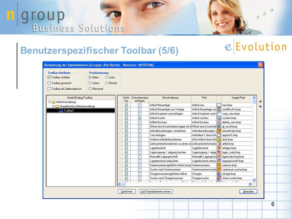 Benutzerspezifischer Toolbar (5/6)
