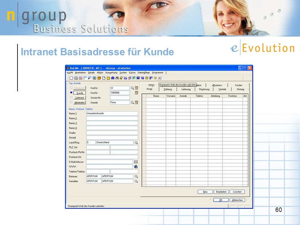 Intranet Basisadresse für Kunde