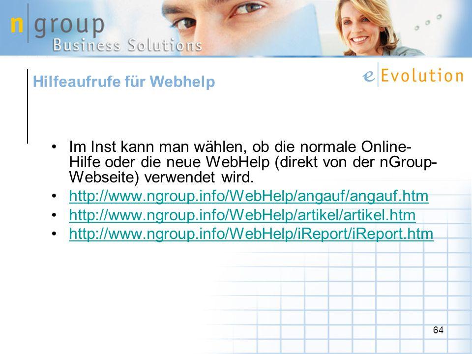 Hilfeaufrufe für Webhelp