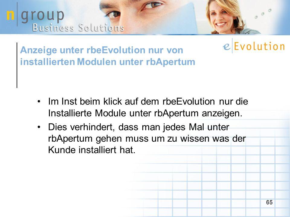 Anzeige unter rbeEvolution nur von installierten Modulen unter rbApertum