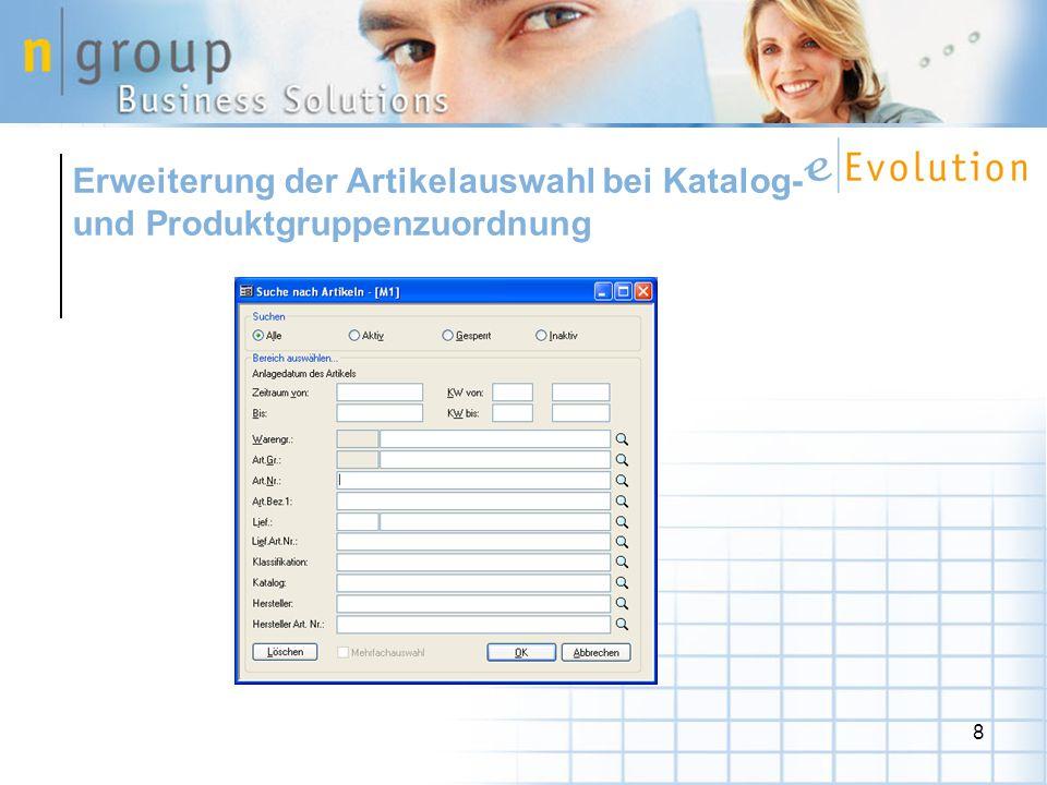 Erweiterung der Artikelauswahl bei Katalog- und Produktgruppenzuordnung