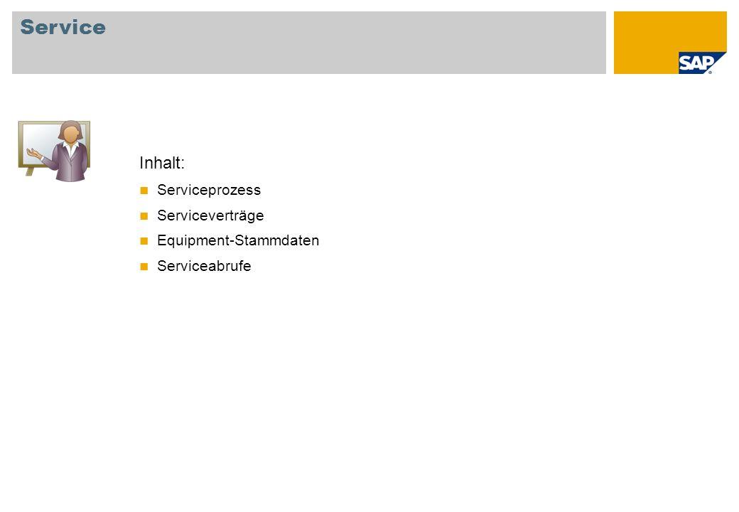 Service Inhalt: Serviceprozess Serviceverträge Equipment-Stammdaten
