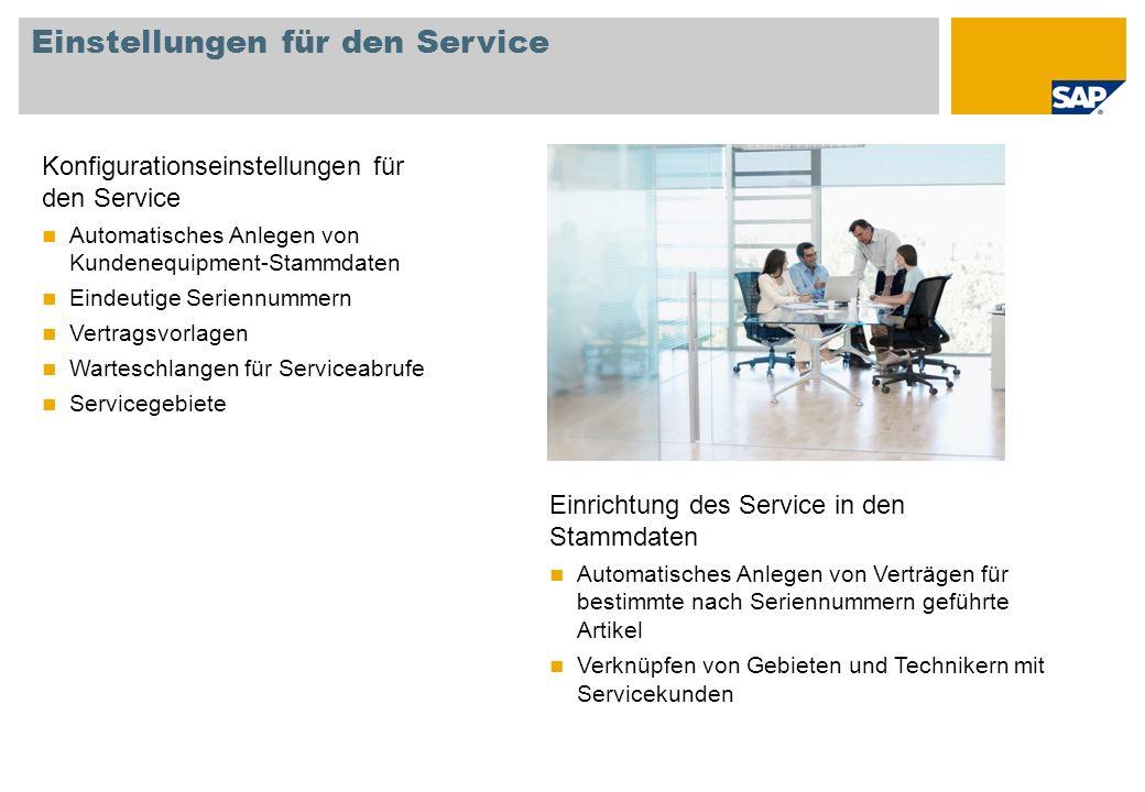 Einstellungen für den Service