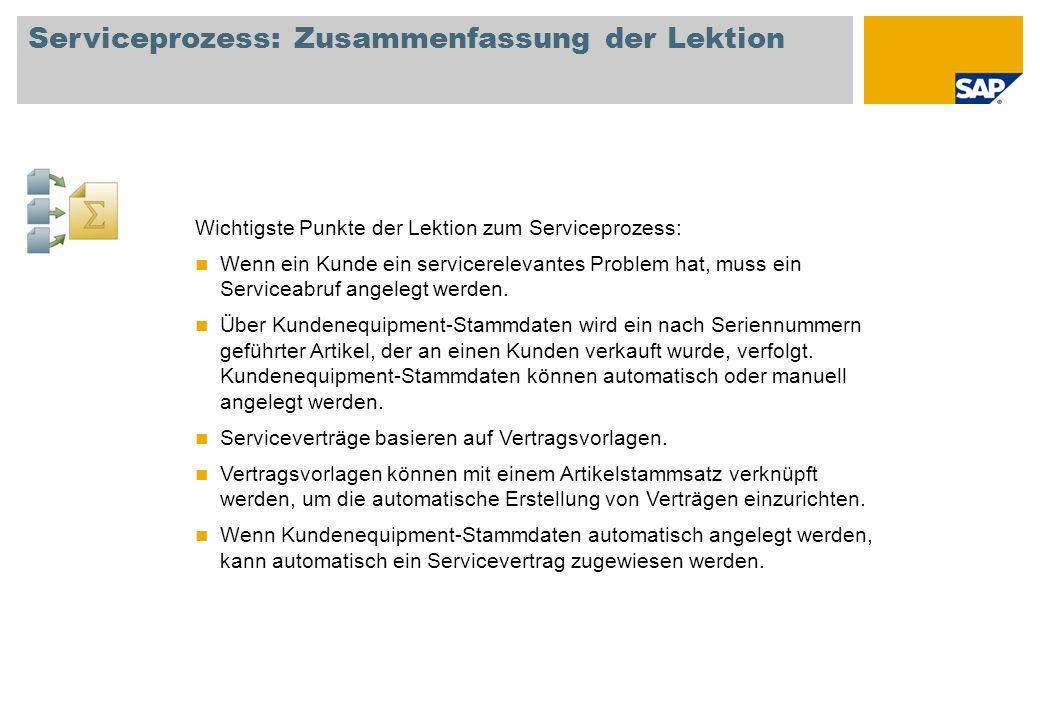 Serviceprozess: Zusammenfassung der Lektion