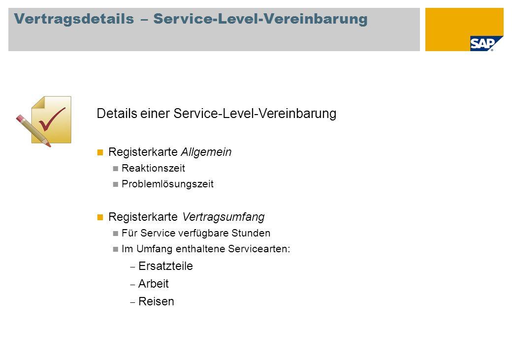 Vertragsdetails – Service-Level-Vereinbarung