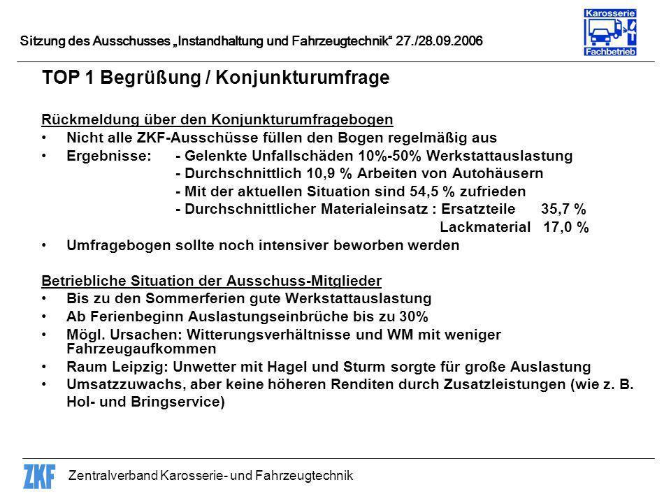 TOP 1 Begrüßung / Konjunkturumfrage