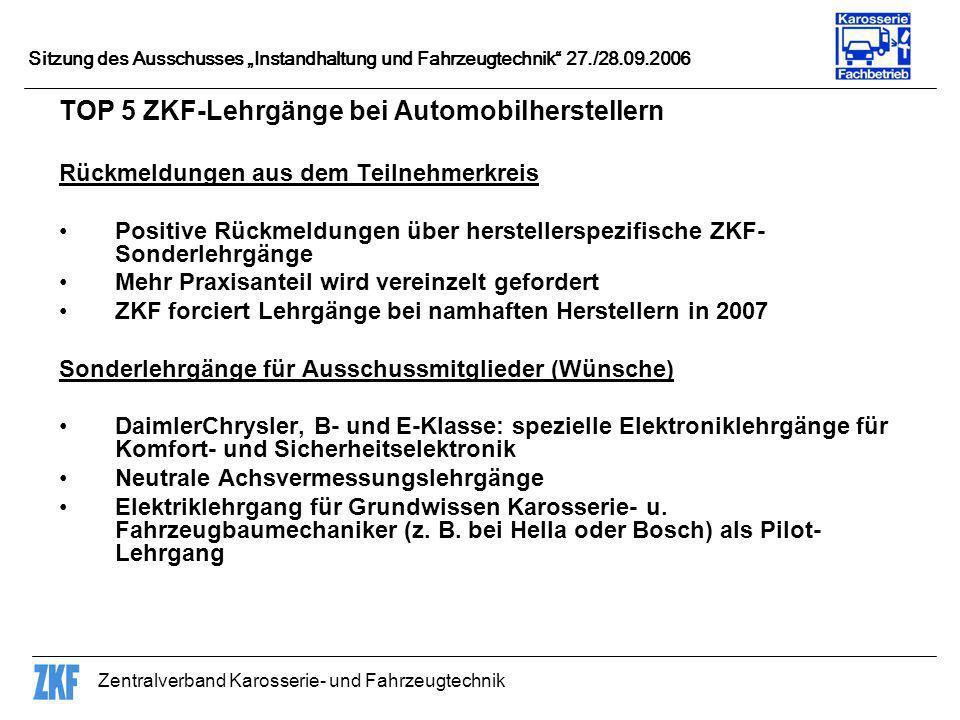 TOP 5 ZKF-Lehrgänge bei Automobilherstellern