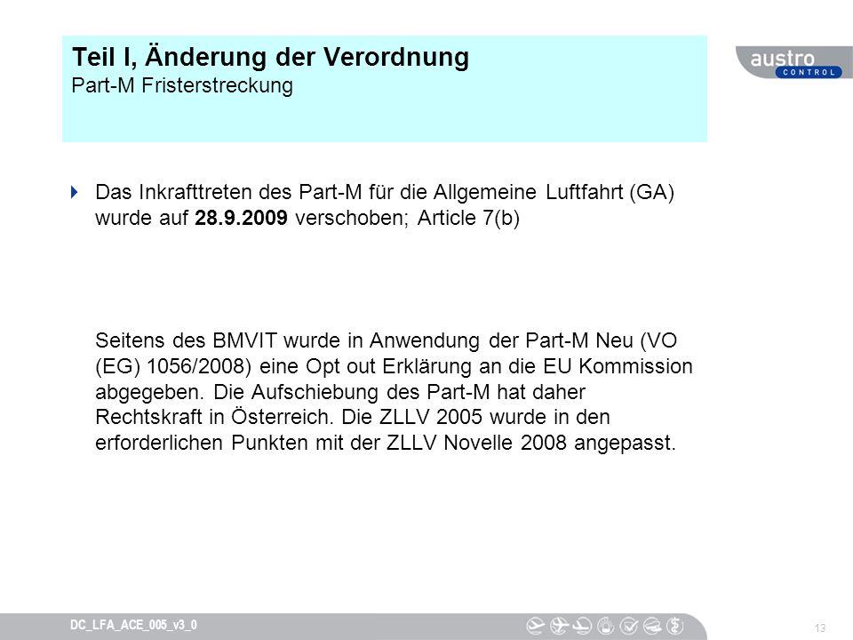 Teil I, Änderung der Verordnung Part-M Fristerstreckung