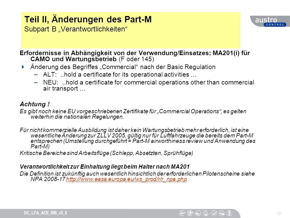 """Teil II, Änderungen des Part-M Subpart B """"Verantwortlichkeiten"""