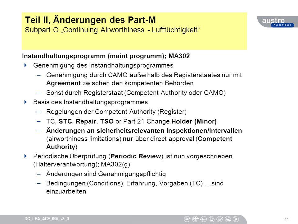 """Teil II, Änderungen des Part-M Subpart C """"Continuing Airworthiness - Lufttüchtigkeit"""