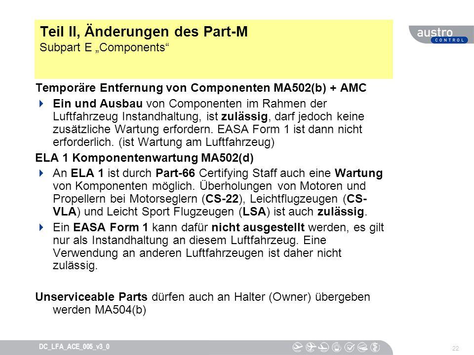 """Teil II, Änderungen des Part-M Subpart E """"Components"""