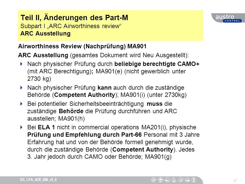 """Teil II, Änderungen des Part-M Subpart I """"ARC Airworthiness review ARC Ausstellung"""