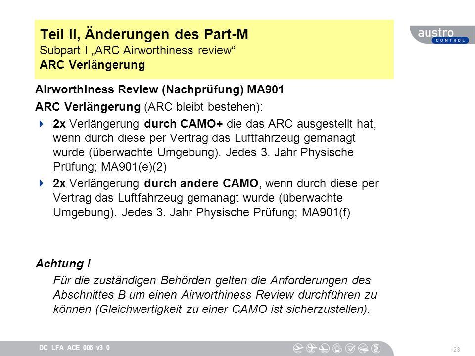 """Teil II, Änderungen des Part-M Subpart I """"ARC Airworthiness review ARC Verlängerung"""