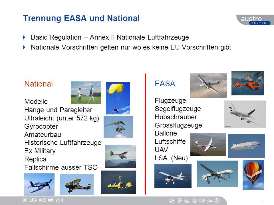 Trennung EASA und National