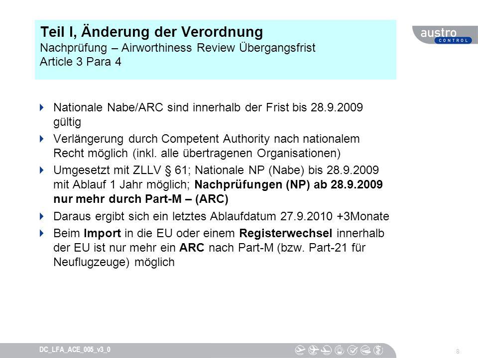 Teil I, Änderung der Verordnung Nachprüfung – Airworthiness Review Übergangsfrist Article 3 Para 4