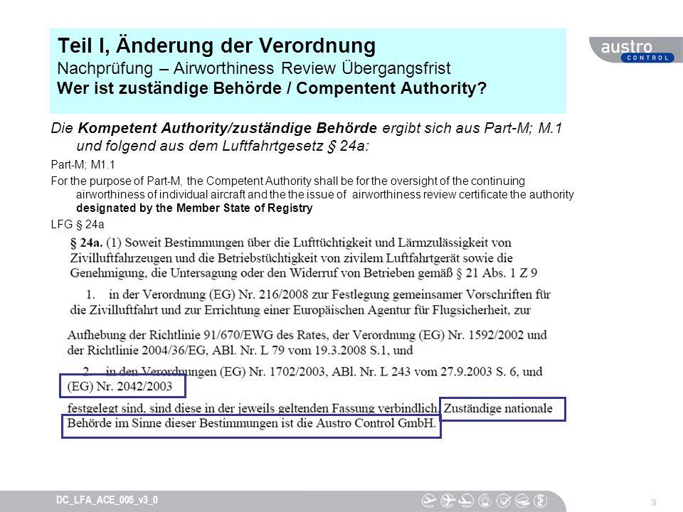 Teil I, Änderung der Verordnung Nachprüfung – Airworthiness Review Übergangsfrist Wer ist zuständige Behörde / Compentent Authority