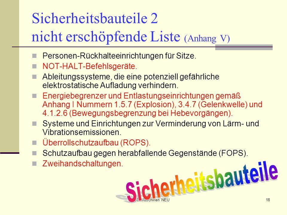 Sicherheitsbauteile 2 nicht erschöpfende Liste (Anhang V)