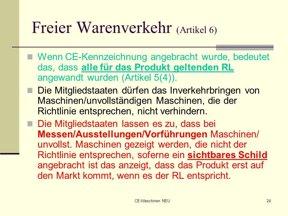 Freier Warenverkehr (Artikel 6)