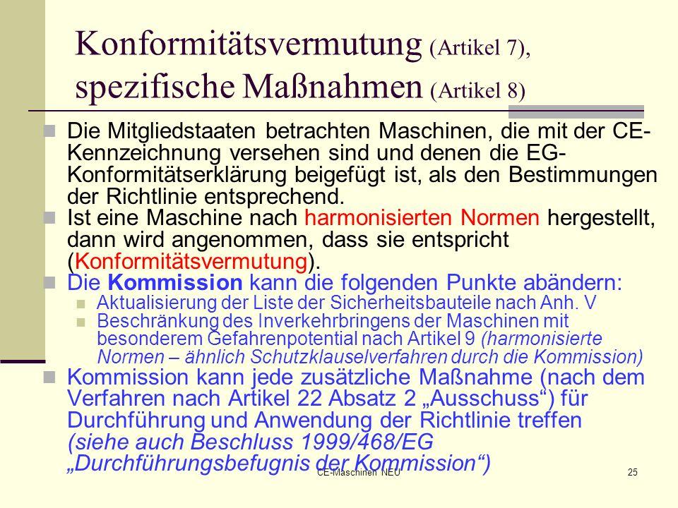 Konformitätsvermutung (Artikel 7), spezifische Maßnahmen (Artikel 8)