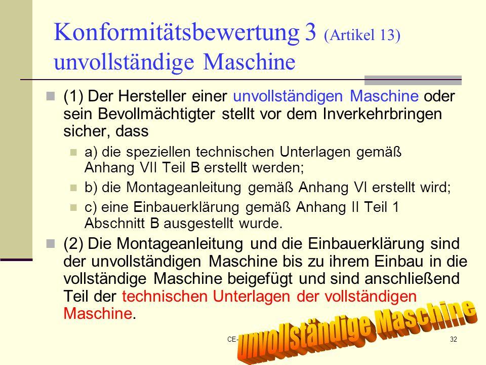 Konformitätsbewertung 3 (Artikel 13) unvollständige Maschine