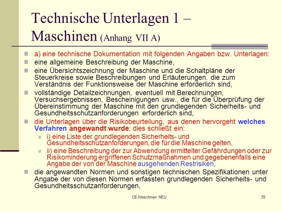 Technische Unterlagen 1 – Maschinen (Anhang VII A)