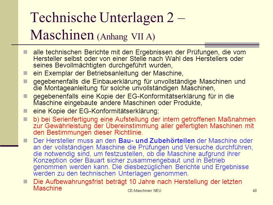 Technische Unterlagen 2 – Maschinen (Anhang VII A)