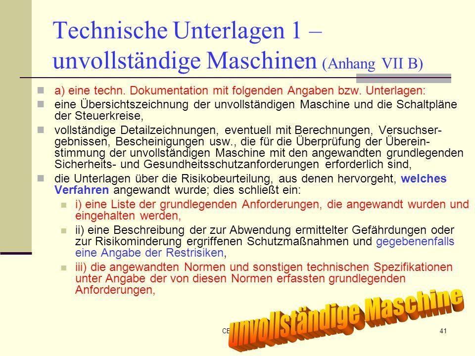 Technische Unterlagen 1 – unvollständige Maschinen (Anhang VII B)