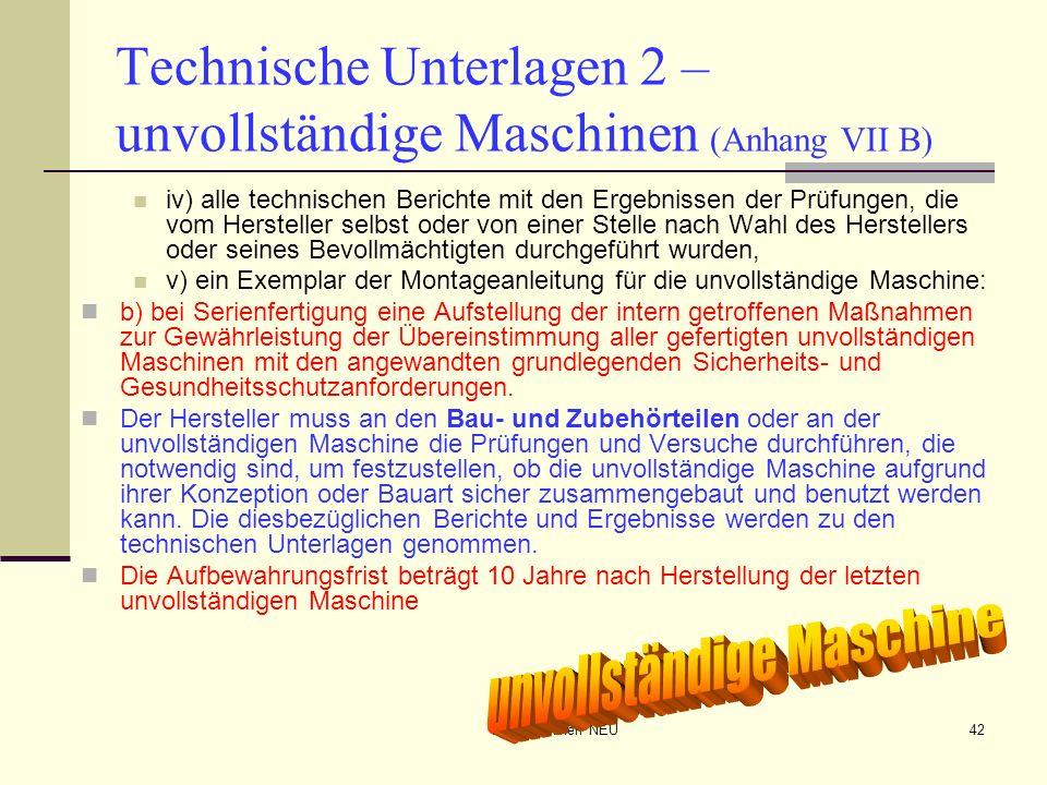 Technische Unterlagen 2 – unvollständige Maschinen (Anhang VII B)