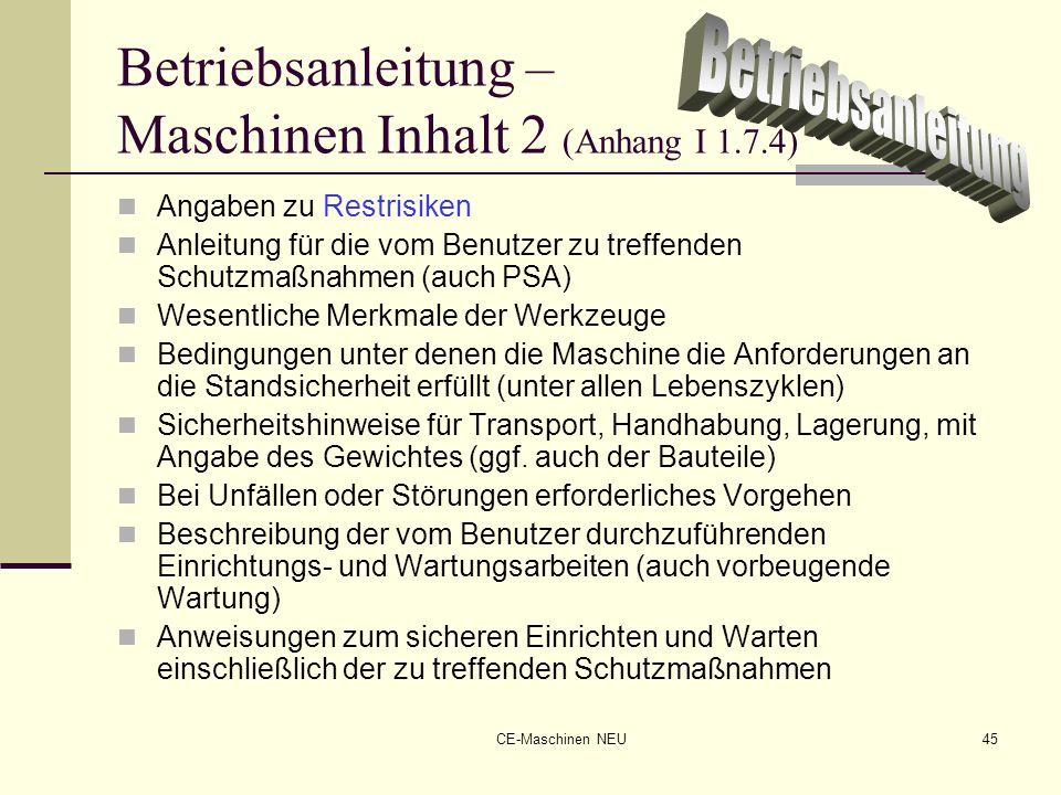 Betriebsanleitung – Maschinen Inhalt 2 (Anhang I 1.7.4)