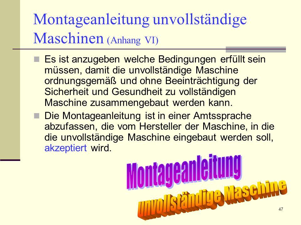 Montageanleitung unvollständige Maschinen (Anhang VI)