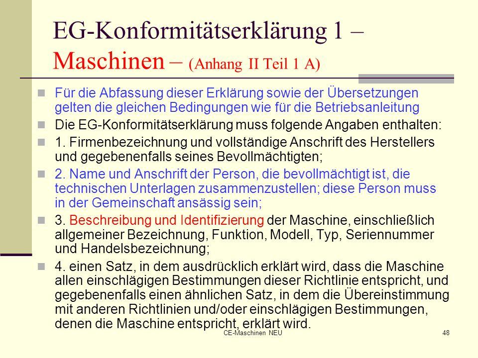 EG-Konformitätserklärung 1 – Maschinen – (Anhang II Teil 1 A)