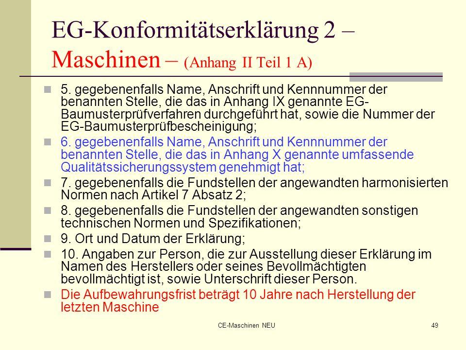 EG-Konformitätserklärung 2 – Maschinen – (Anhang II Teil 1 A)