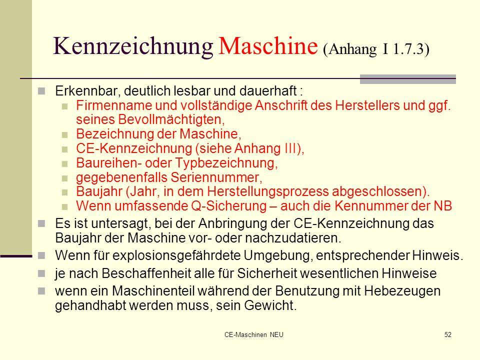 Kennzeichnung Maschine (Anhang I 1.7.3)
