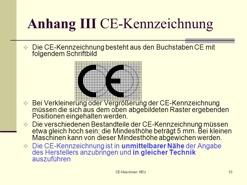Anhang III CE-Kennzeichnung