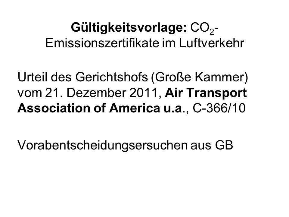 Gültigkeitsvorlage: CO2-Emissionszertifikate im Luftverkehr