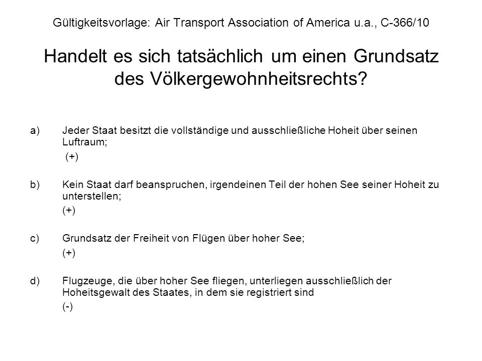 Gültigkeitsvorlage: Air Transport Association of America u. a